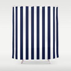 Stripe Vertical Navy Blue Shower Curtain