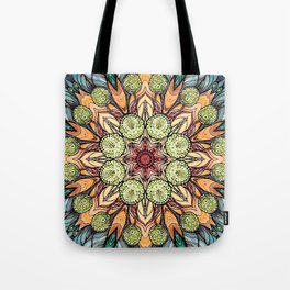 abstract red star hand drawn and kaleidoscope mandala Tote Bag