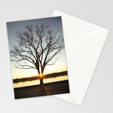 Sunset Between a Tree Stationery Cards
