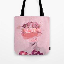 Woman in flowers Tote Bag