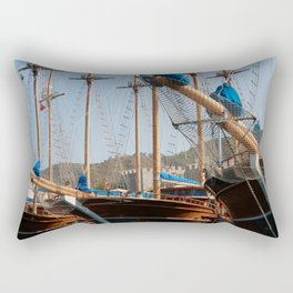 Gulets Lining The Harbour Infront of Marmaris Castle Rectangular Pillow