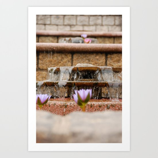 Fountain Flowers Art Print