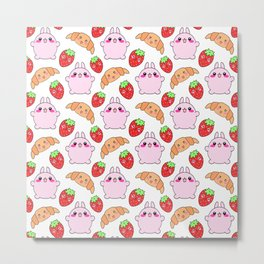 Cute happy funny pink baby bunnies, sweet adorable yummy Kawaii croissants and red ripe summer strawberries cartoon white pattern design Metal Print