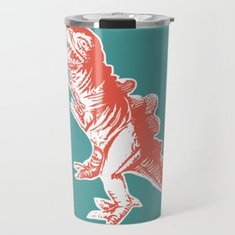 Dino Pop Art - T-Rex - Teal & Dark Orange Travel Mug