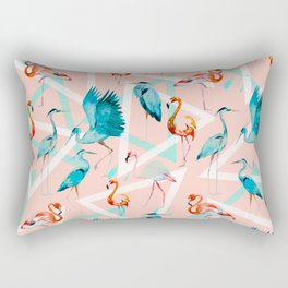 Pattern flamingos & triangles Rectangular Pillow