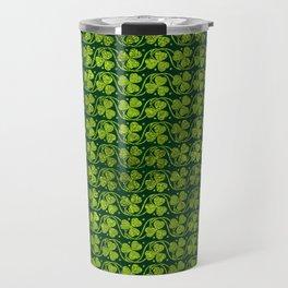 Irish Shamrock -Clover Green Glitter pattern Travel Mug