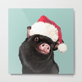 Christmas Baby Black Pig in Green Metal Print
