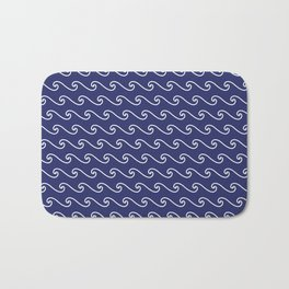Wave Pattern | Navy Blue and White Bath Mat