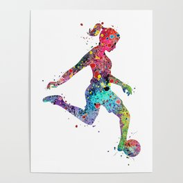 Girl Soccer Player Watercolor Print Sports Print Soccer Player Poster Poster