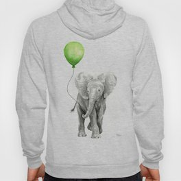 Baby Elephant with Green Balloon Hoody
