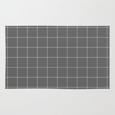 Grey and White Grid Rug