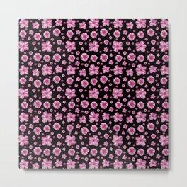 Pink and Black Floral Collage Print Metal Print