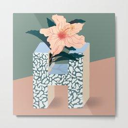 Vase H Hibiscus Metal Print