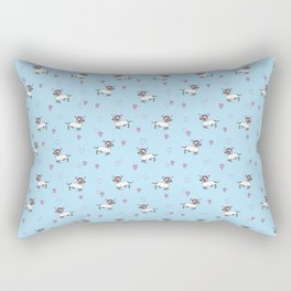 Cute Dachshund Unicorn + Hearts Pattern (Blue) | Adorable Sausage dog Unicorns Rectangular Pillow