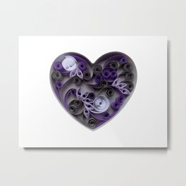 Purple Grey Love Heart Paper Quilled Colorful Heart Wedding Anniversary Gift Metal Print