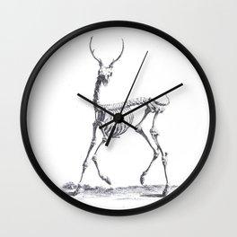 Vintage deer skeleton black and white animal print Wall Clock