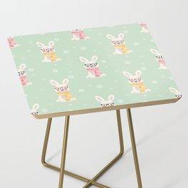 White rabbit Christmas pattern 001 Side Table