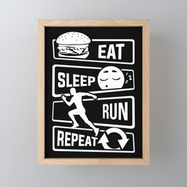 Eat Sleep Run Repeat - Running Runner Fitness Framed Mini Art Print
