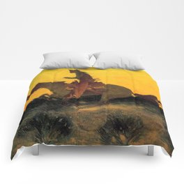 """Frederic Remington Western Art """"Against the Sunset"""" Comforters"""
