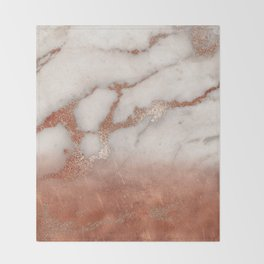 Shiny Copper Metal Foil Gold Ombre Bohemian Marble Throw Blanket