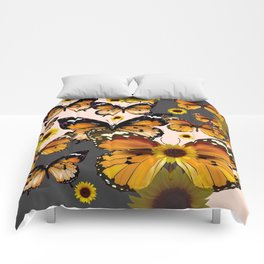 MODERN ART COFFEE & CREAM COLORED BROWN BUTTERFLIES Comforters
