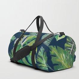 Jungle Leaves, Banana, Monstera, Blue Duffle Bag