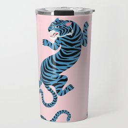 Pastel Pink & Blue Tiger Pattern Travel Mug