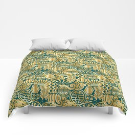 Chinese Symbols in Gold and Emerald Jade Green Comforters