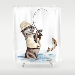""""""" Natures Fisherman """" fishing river otter with trout Shower Curtain"""