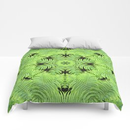 Fern frond fantasy kaleidoscope Comforters