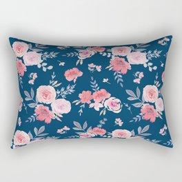 Vintage Roses on Blue Rectangular Pillow