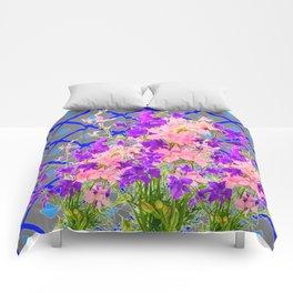 Assorted  Floral Garden  Blue Trellis Design Pattern Comforters