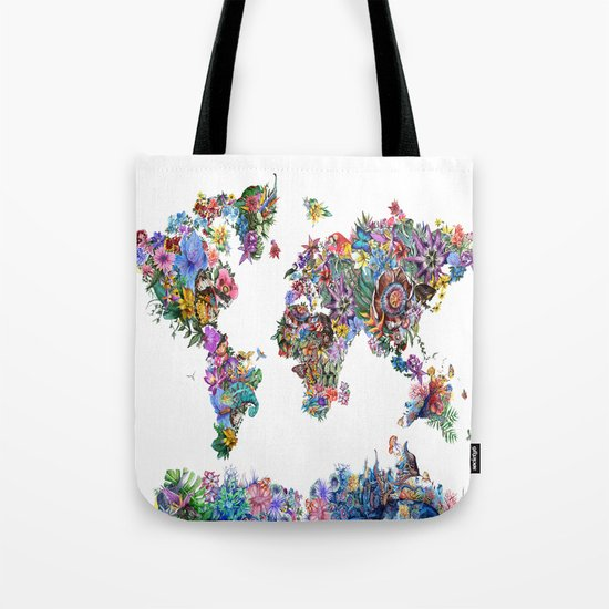 tropical floral world map Tote Bag