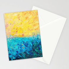 THE DIVIDE - Stunning Bold Colors, Ocean Waves Sun, Modern Beach Chic Theme Abstract Painting Stationery Cards