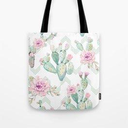 Cactus Chevron Southwestern Watercolor Tote Bag