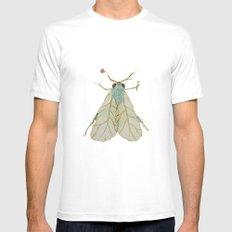 Moth Illustration  White MEDIUM Mens Fitted Tee