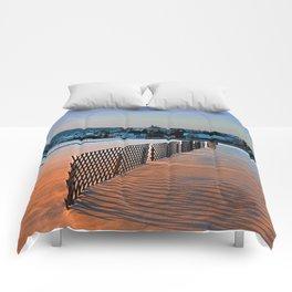 Fences, evening sun and the village   landscape photography Comforters