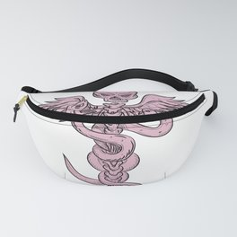 Skull and Spinal Column With Snakes Drawing Fanny Pack