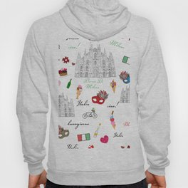 Milan, Italy seamless pattern with hand drawn sketch Hoody
