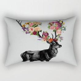Spring Itself Deer Floral Rectangular Pillow