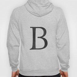 Letter B Initial Monogram Black and White Hoody