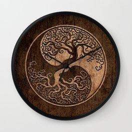 Rough Wood Grain Effect Tree of Life Yin Yang Wall Clock