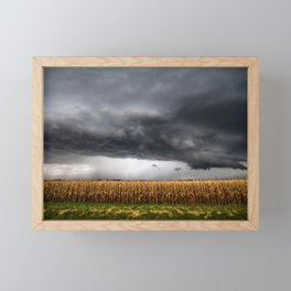 Corn Field - Storm Over Withered Crop in Southern Kansas Framed Mini Art Print