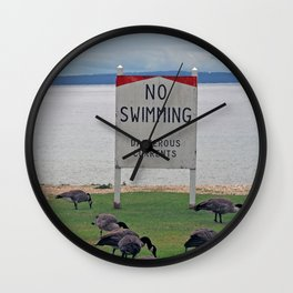 No Swimming Wall Clock