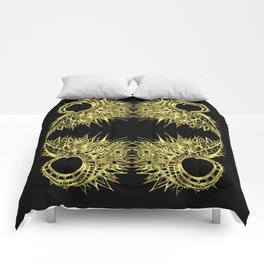 GOLDEN CURL - SHINING PAINTING ON BLACK BACKGROUND Comforters