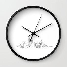 Dallas Skyline Drawing Wall Clock