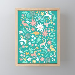 Dinosaurs + Unicorns on Teal Framed Mini Art Print