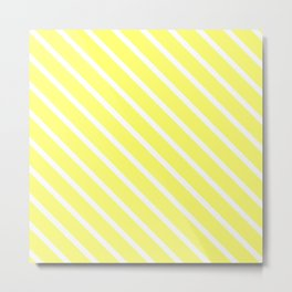 Custard Diagonal Stripes Metal Print