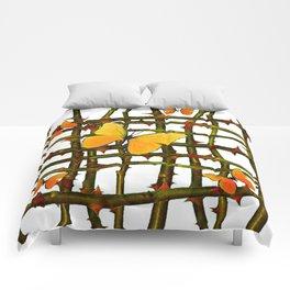 GOLDEN BUTTERFLIES THORN BRANCHES TRELLIS  PATTERN Comforters