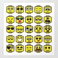 Yellow Cartoon Faces on White Background Art Print